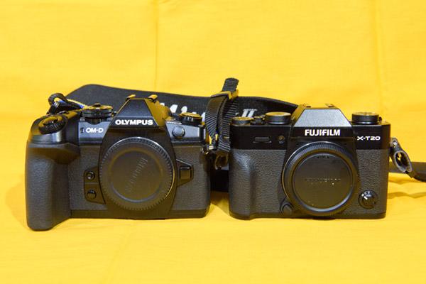 フジフィルムX-T20とオリンパス機2