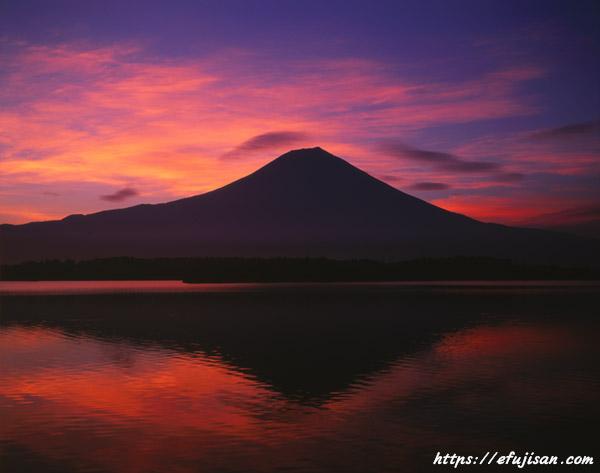 田貫湖で撮影した朝焼けと富士山
