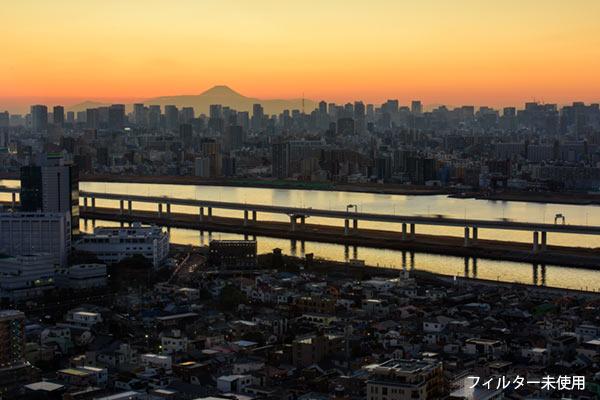 フィルター無しで撮影した東京の夜景と富士山