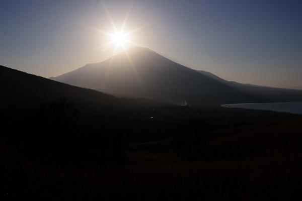 フィルター無しで撮影した夕景と富士山